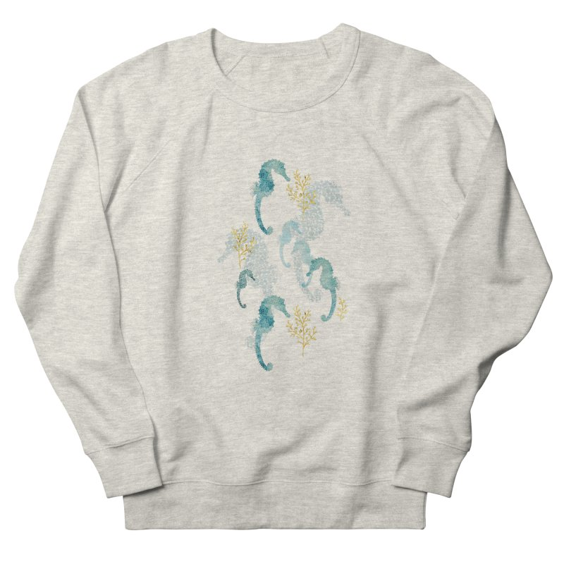 Pointilism seahorse in white Men's French Terry Sweatshirt by AdenaJ