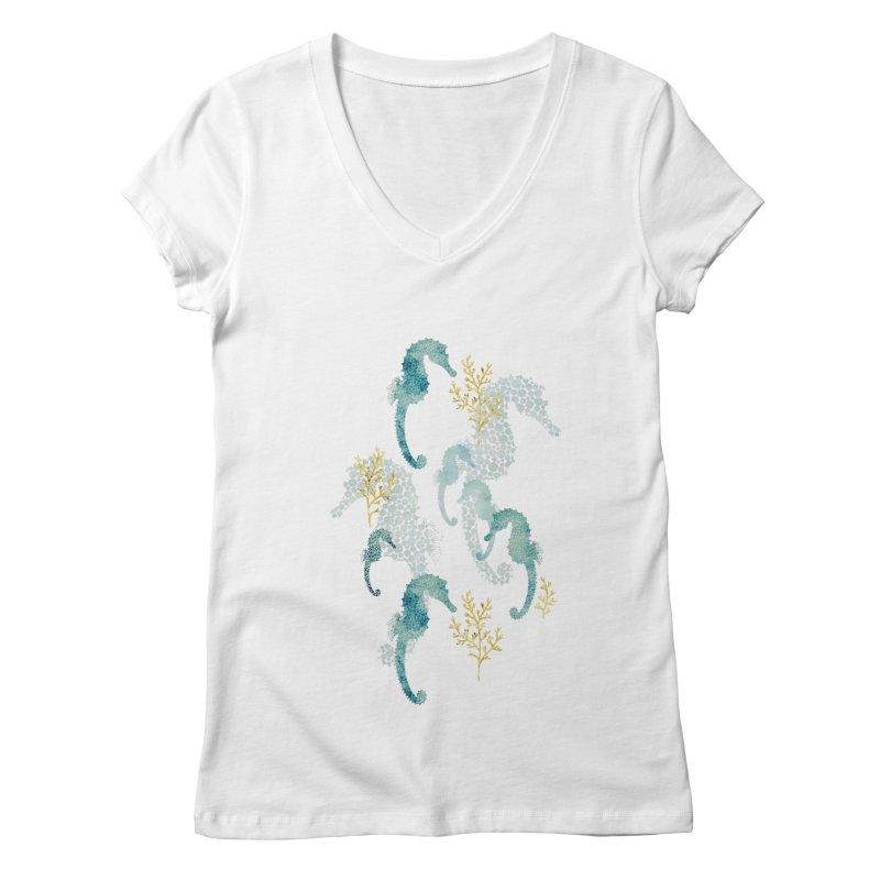 Pointilism seahorse in white Women's Regular V-Neck by AdenaJ