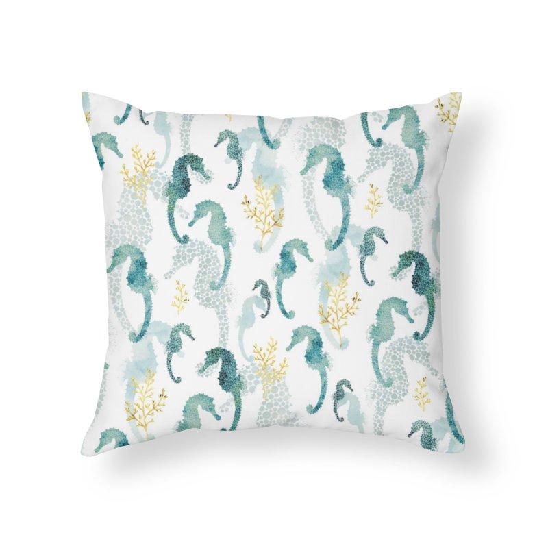 Pointilism seahorse in white Home Throw Pillow by AdenaJ