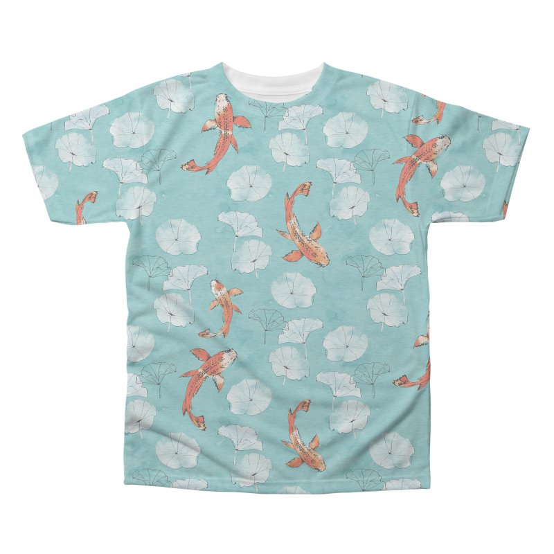Waterlily koi in turquoise Men's Triblend All Over Print by AdenaJ