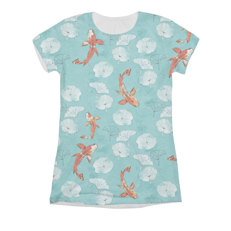 Waterlily koi in turquoise Women's Triblend All Over Print by AdenaJ