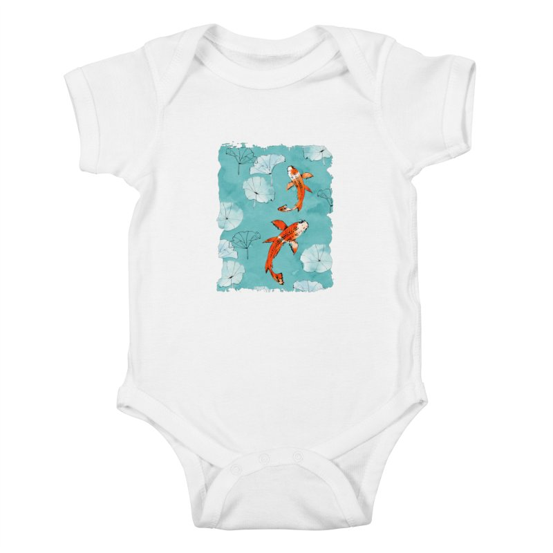 Waterlily koi in turquoise Kids Baby Bodysuit by AdenaJ