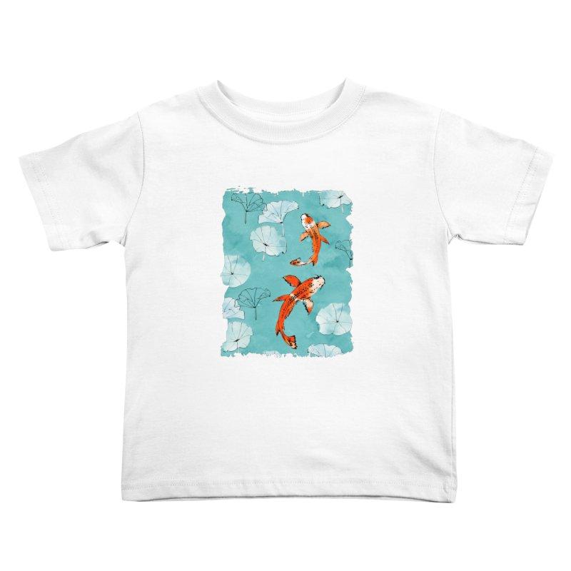 Waterlily koi in turquoise Kids Toddler T-Shirt by AdenaJ