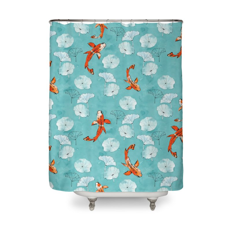 Waterlily koi in turquoise in Shower Curtain by AdenaJ
