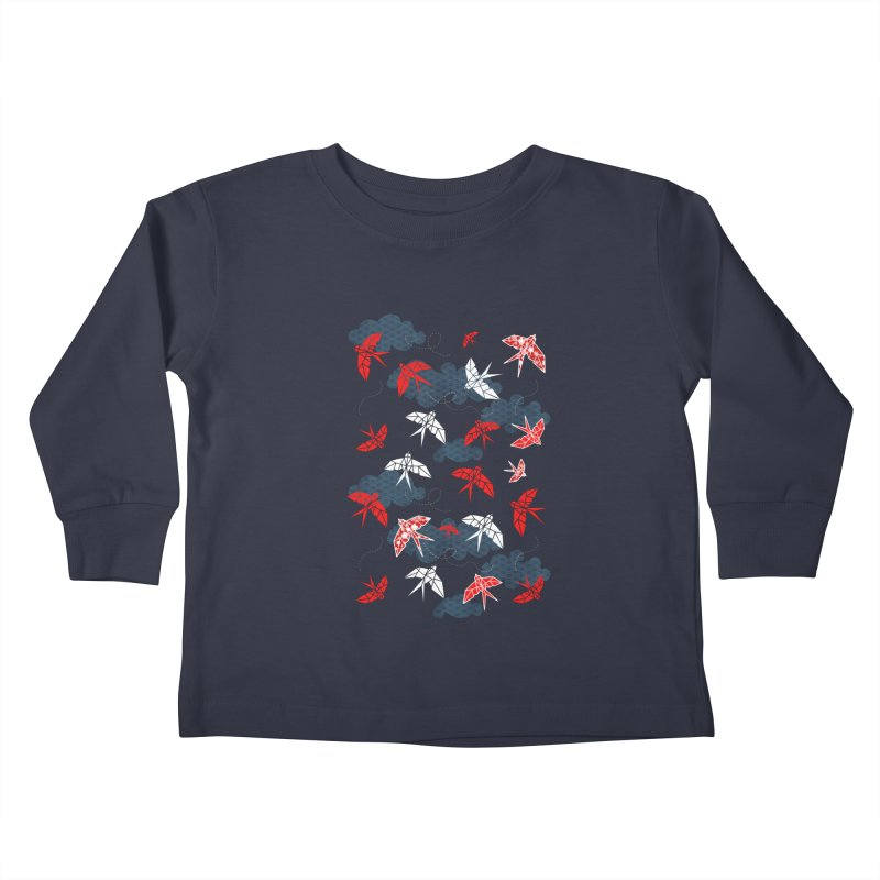 Origami swallow in Navy Blue Kids Toddler Longsleeve T-Shirt by AdenaJ