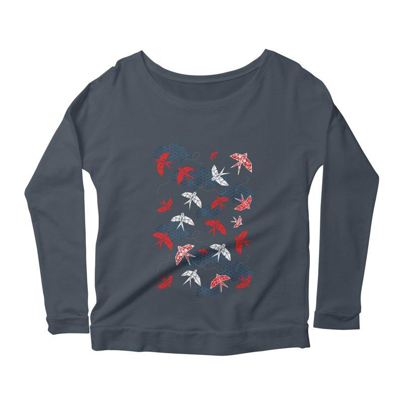 Origami swallow in Navy Blue Women's Scoop Neck Longsleeve T-Shirt by AdenaJ