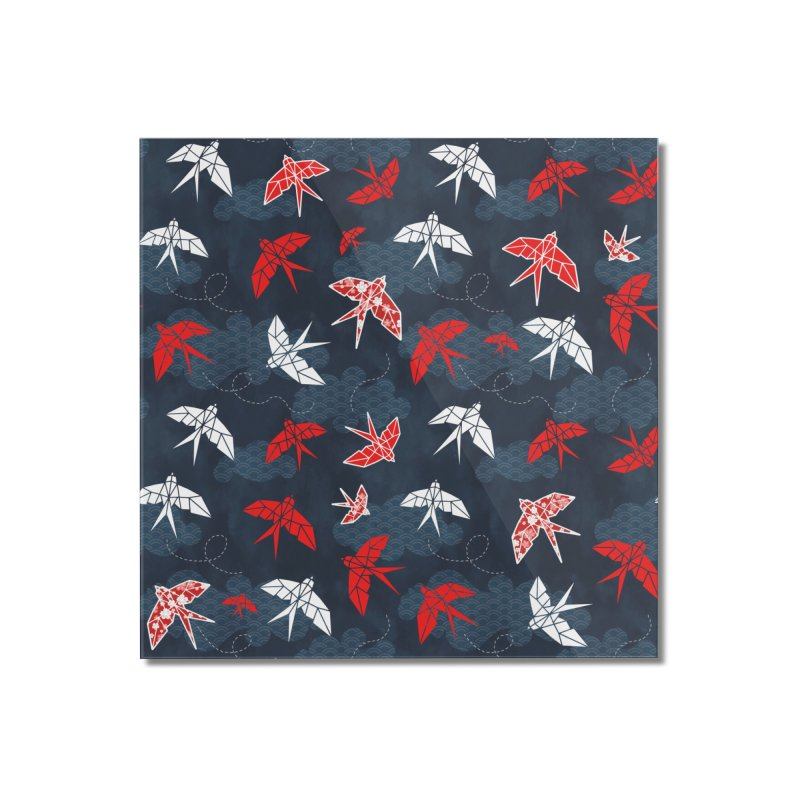 Origami swallow in Navy Blue Home Mounted Acrylic Print by AdenaJ
