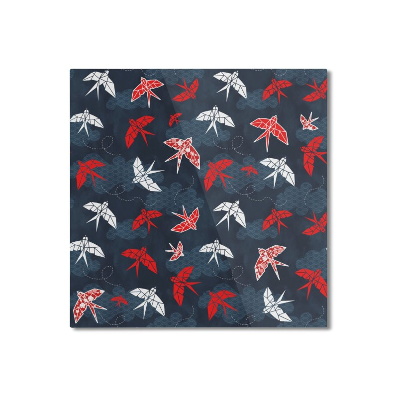 Origami swallow in Navy Blue Home Mounted Aluminum Print by AdenaJ