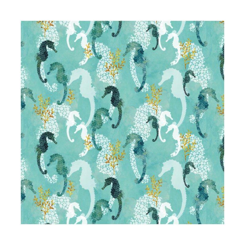 Pointillism Seahorse in turquoise Home Blanket by AdenaJ