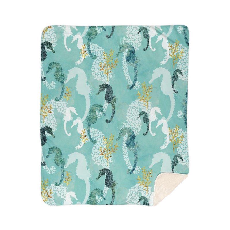 Pointillism Seahorse in turquoise Home Sherpa Blanket Blanket by AdenaJ