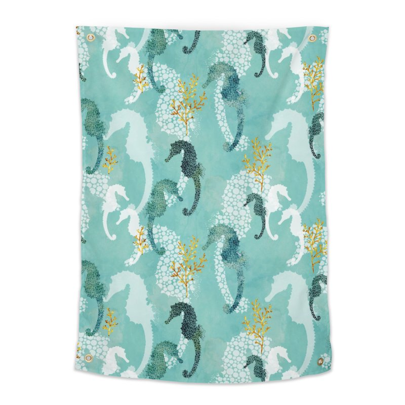 Pointillism Seahorse in turquoise Home Tapestry by AdenaJ