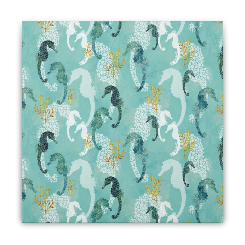 Pointillism Seahorse in turquoise Home Stretched Canvas by AdenaJ