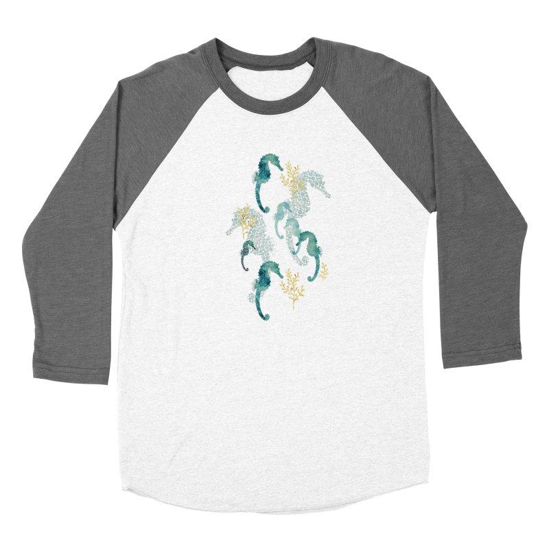 Pointillism Seahorse in turquoise Men's Baseball Triblend Longsleeve T-Shirt by AdenaJ