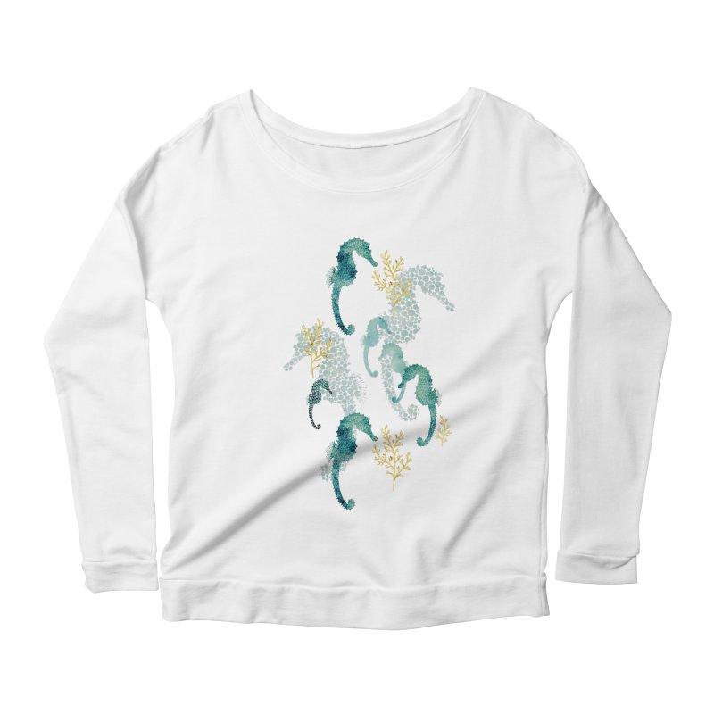 Pointillism Seahorse in turquoise Women's Scoop Neck Longsleeve T-Shirt by AdenaJ