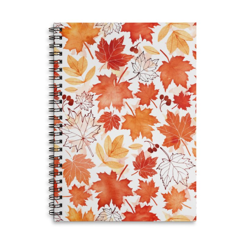 Autumn Leaves Accessories Lined Spiral Notebook by AdenaJ