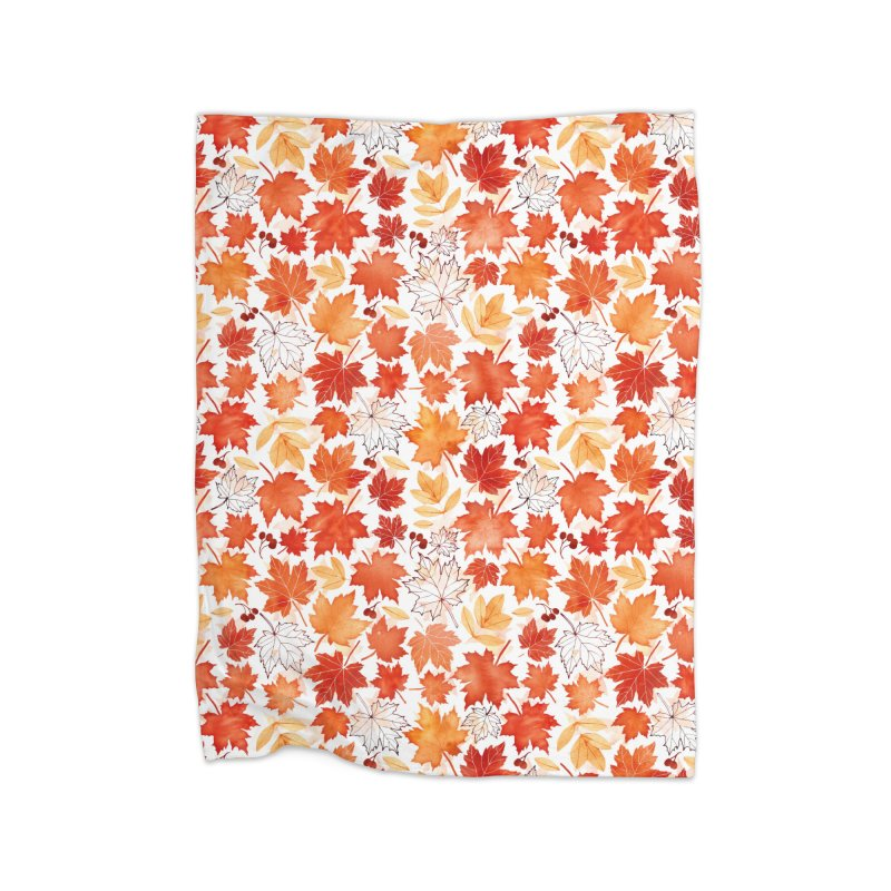 Autumn Leaves Home Fleece Blanket Blanket by AdenaJ