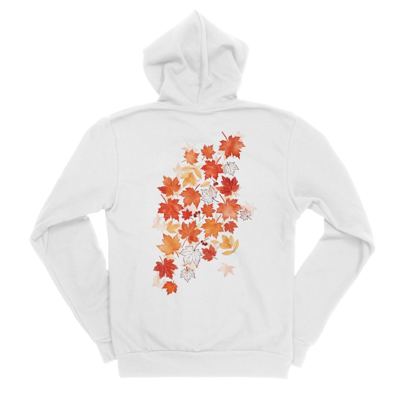 Autumn Leaves Women's Sponge Fleece Zip-Up Hoody by AdenaJ