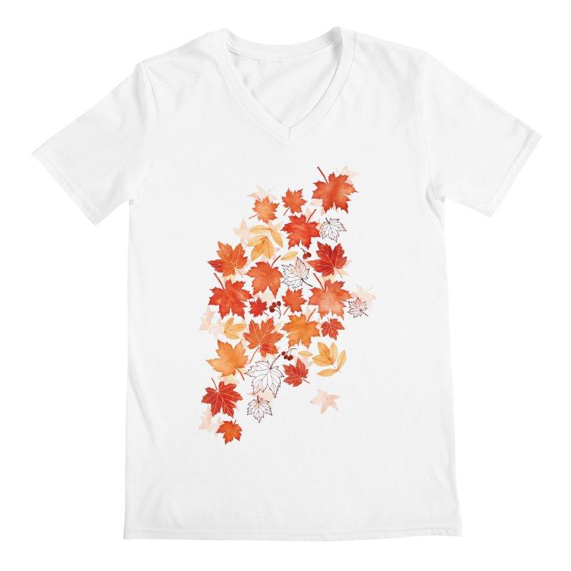 Autumn Leaves Men's Regular V-Neck by AdenaJ