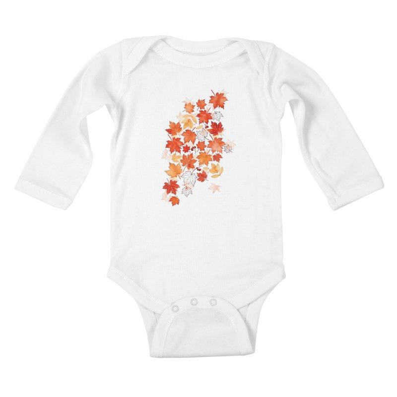 Autumn Leaves Kids Baby Longsleeve Bodysuit by AdenaJ