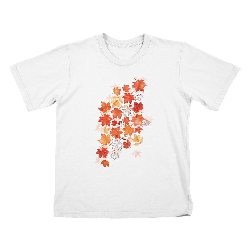 Autumn Leaves Kids T-Shirt by AdenaJ