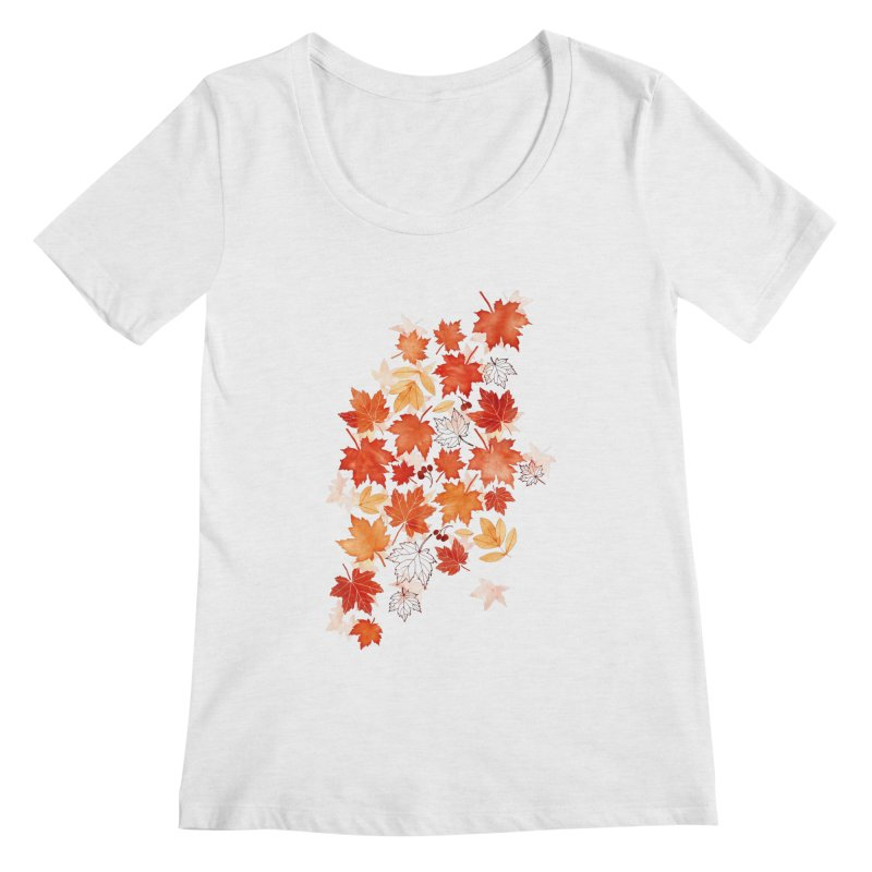 Autumn Leaves Women's Regular Scoop Neck by AdenaJ