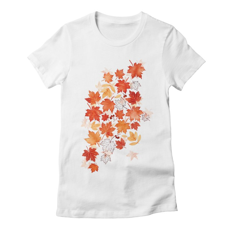 Autumn Leaves Women's Fitted T-Shirt by AdenaJ