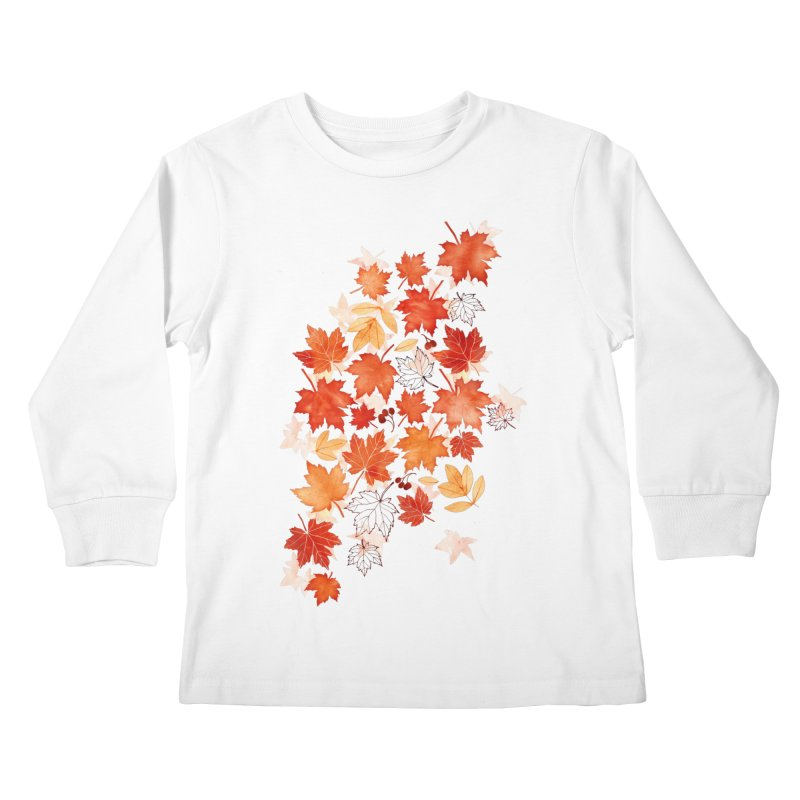 Autumn Leaves Kids Longsleeve T-Shirt by AdenaJ