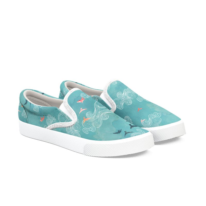 Blue Sky Birds Women's Slip-On Shoes by AdenaJ