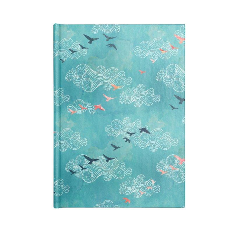 Blue Sky Birds Accessories Blank Journal Notebook by AdenaJ