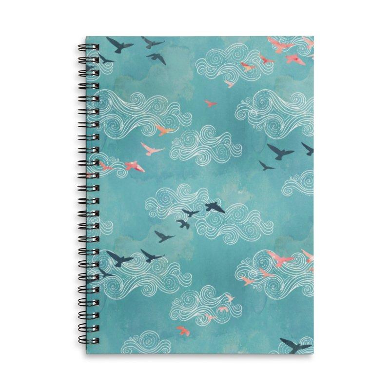 Blue Sky Birds Accessories Lined Spiral Notebook by AdenaJ