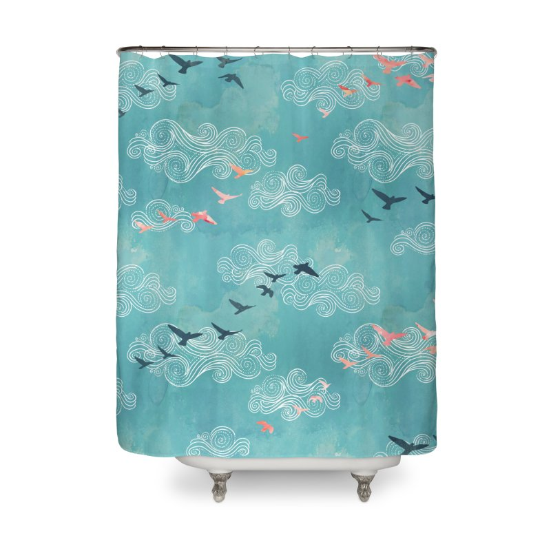 Blue Sky Birds Home Shower Curtain by AdenaJ