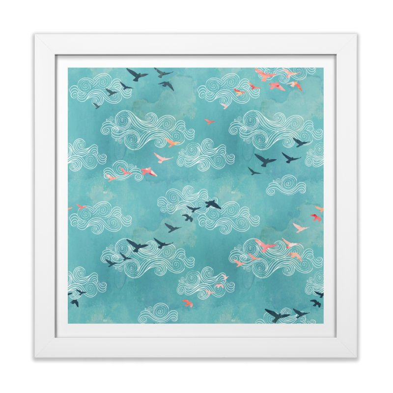 Blue Sky Birds Home Framed Fine Art Print by AdenaJ