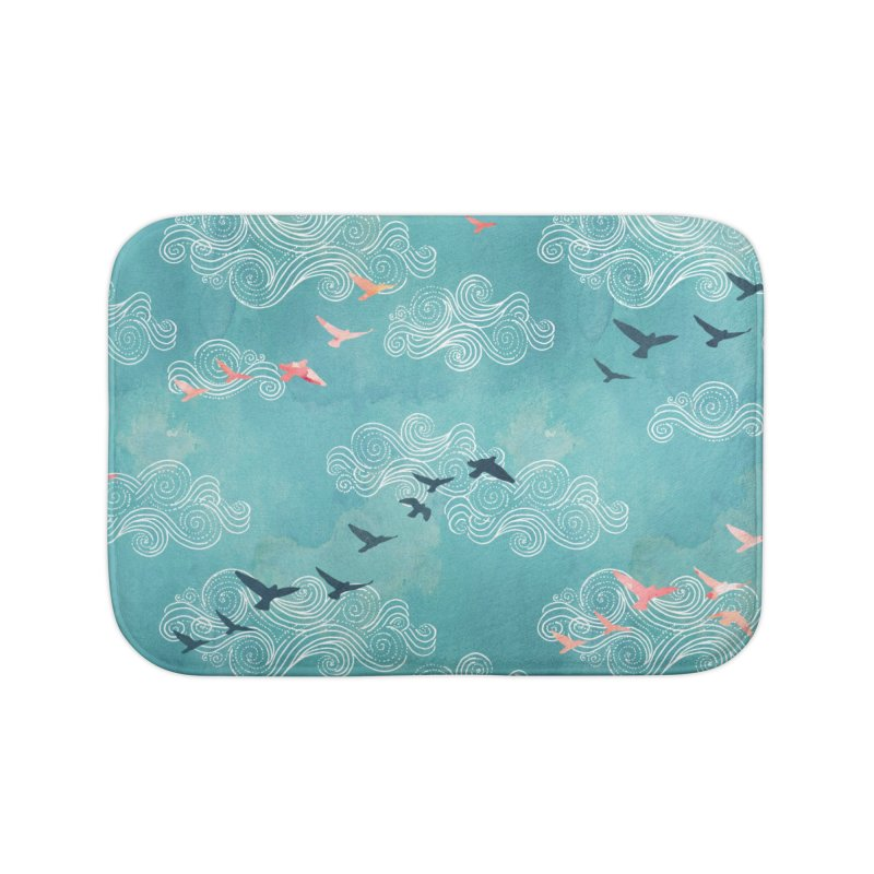 Blue Sky Birds Home Bath Mat by AdenaJ