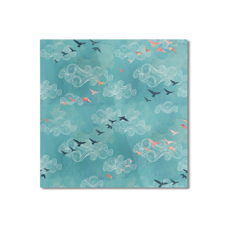 Blue Sky Birds Home Mounted Aluminum Print by AdenaJ