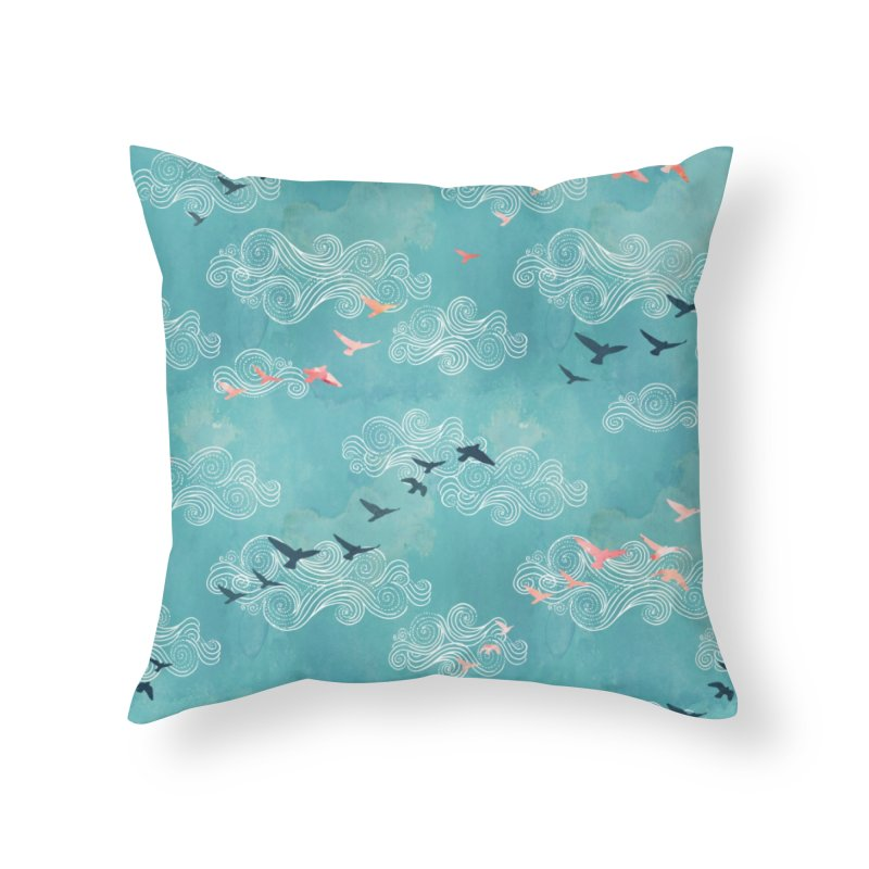 Blue Sky Birds Home Throw Pillow by AdenaJ