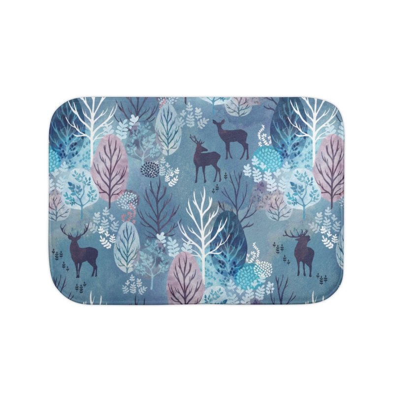 Steel blue forest deer Home Bath Mat by AdenaJ