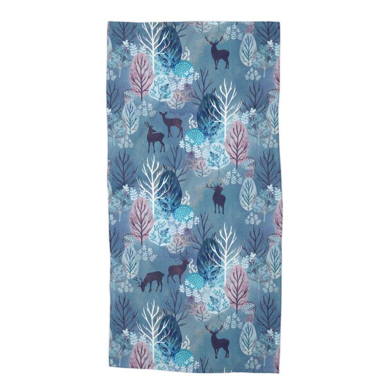 Steel blue forest deer Accessories Beach Towel by AdenaJ