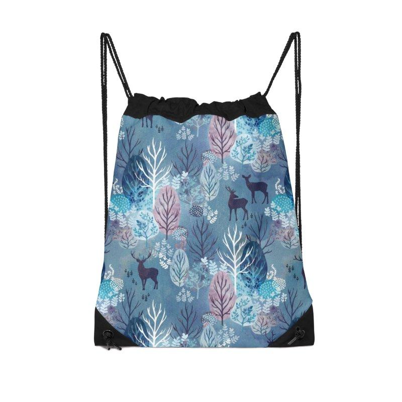 Steel blue forest deer Accessories Drawstring Bag Bag by AdenaJ