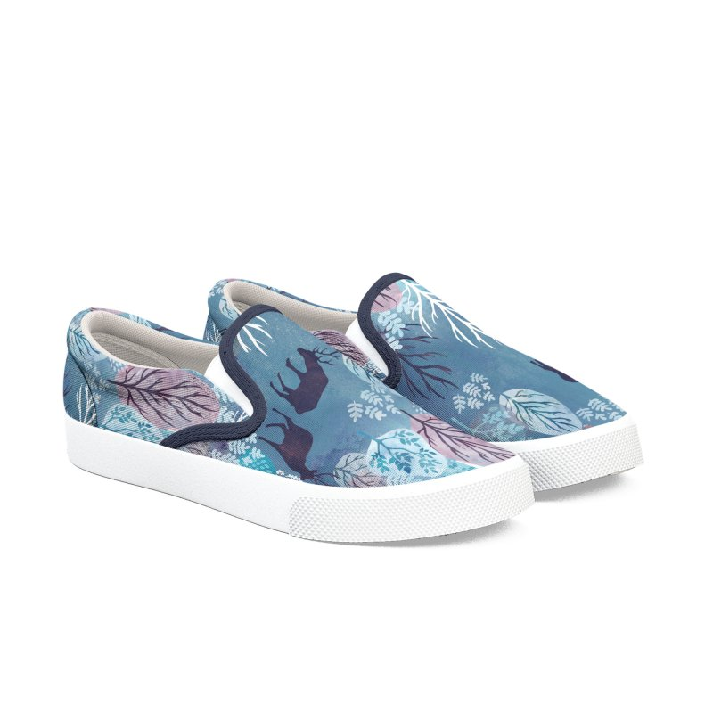 Steel blue forest deer Women's Slip-On Shoes by AdenaJ