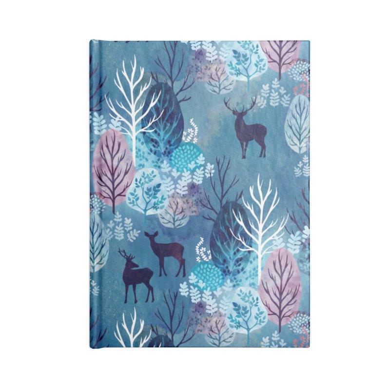 Steel blue forest deer Accessories Lined Journal Notebook by AdenaJ