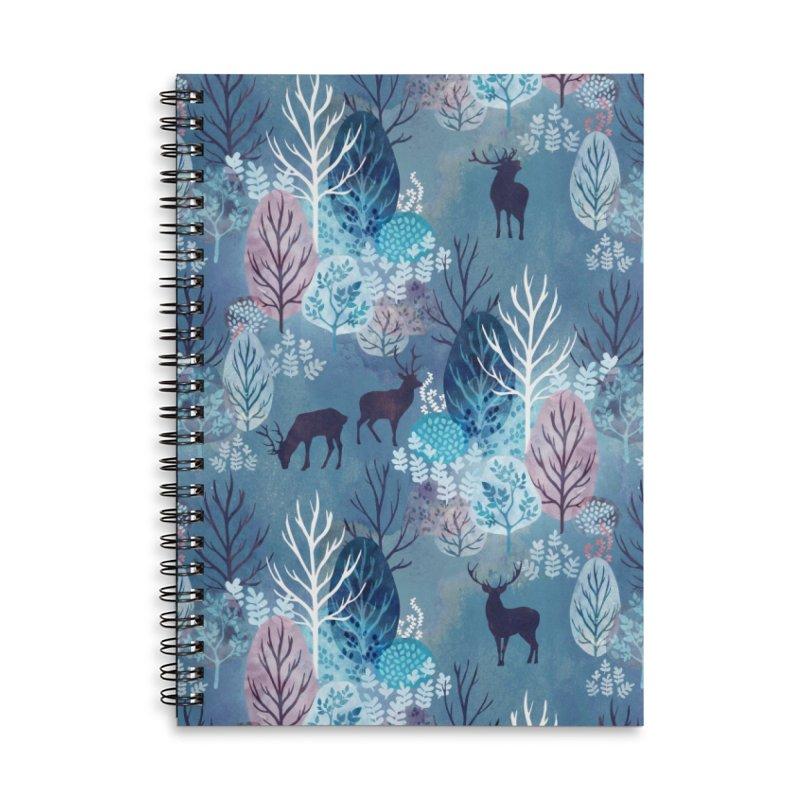 Steel blue forest deer Accessories Lined Spiral Notebook by AdenaJ