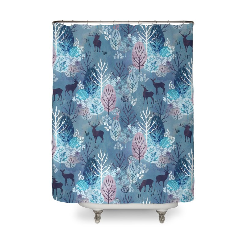 Steel blue forest deer Home Shower Curtain by AdenaJ