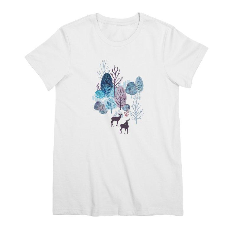 Steel blue forest deer Women's Premium T-Shirt by AdenaJ
