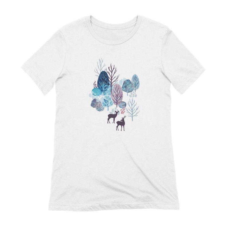 Steel blue forest deer Women's Extra Soft T-Shirt by AdenaJ