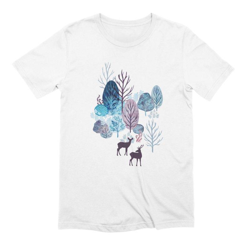 Steel blue forest deer Men's Extra Soft T-Shirt by AdenaJ
