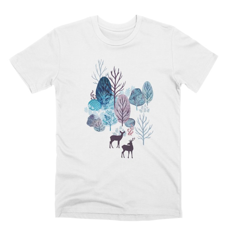 Steel blue forest deer Men's Premium T-Shirt by AdenaJ