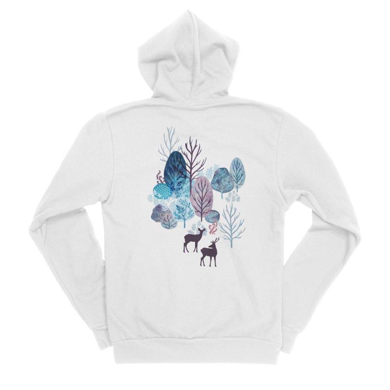 Steel blue forest deer Women's Sponge Fleece Zip-Up Hoody by AdenaJ