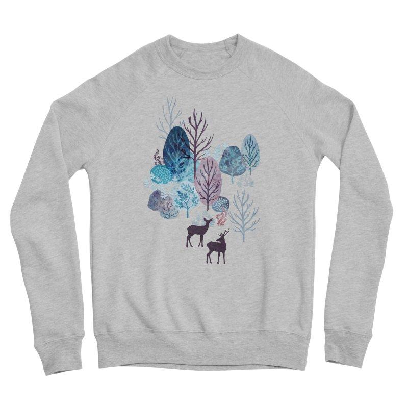 Steel blue forest deer Men's Sponge Fleece Sweatshirt by AdenaJ