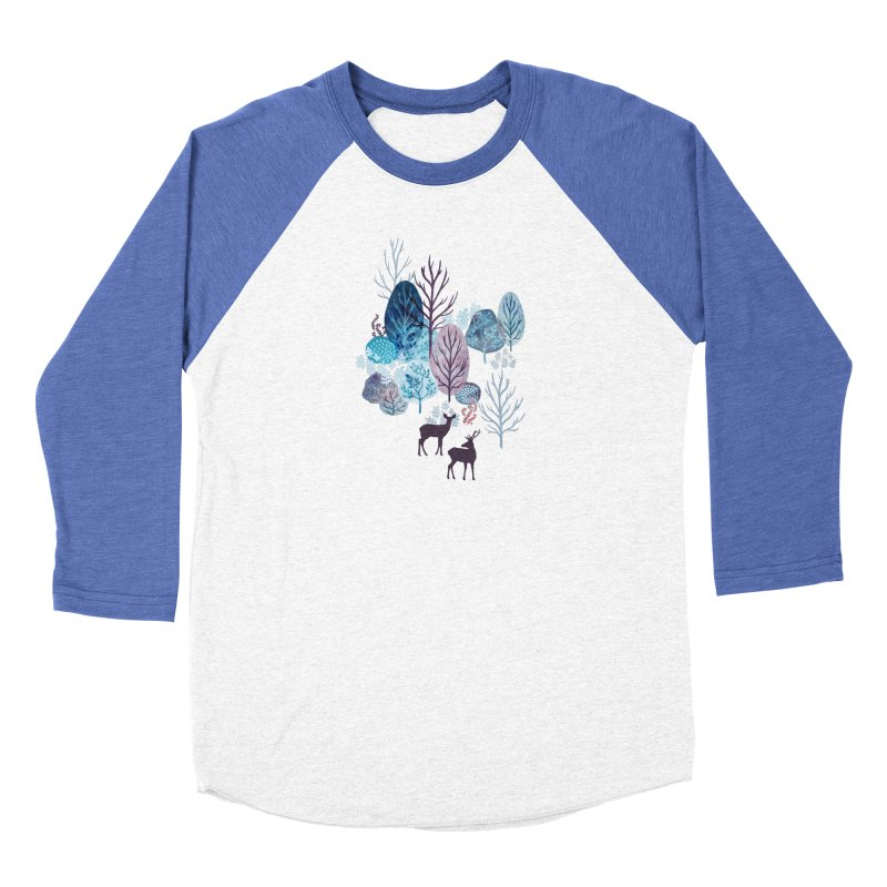 Steel blue forest deer Men's Baseball Triblend Longsleeve T-Shirt by AdenaJ