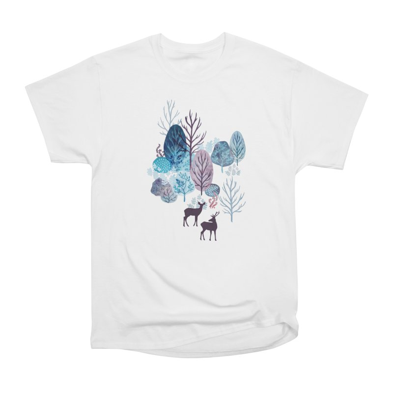 Steel blue forest deer Men's Heavyweight T-Shirt by AdenaJ